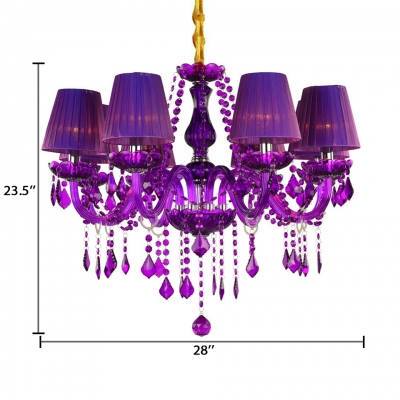 Traditional Candle Hanging Chandelier 6/8 Lights Purple Crystal Chandelier with 12