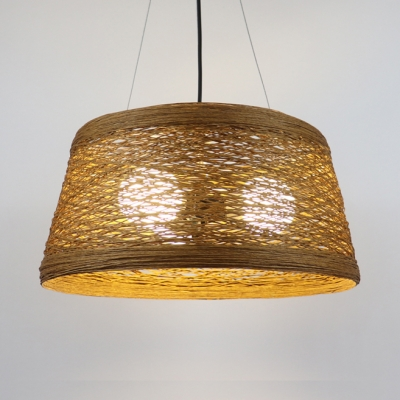 1/3 Bulb Tapered Pendant Lighting with Brown Rattan Shade Lodge Style Hanging Lamp
