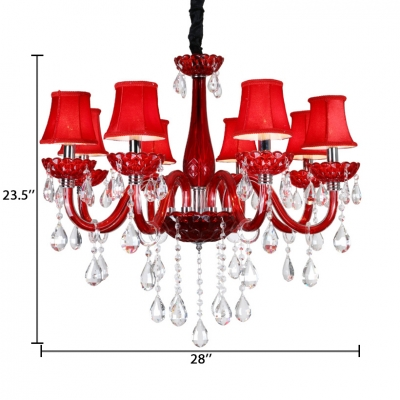 Candle Bedroom Chandelier Light Clear Crystal 8 Lights Kids Pendant Lighting Fixture in Red