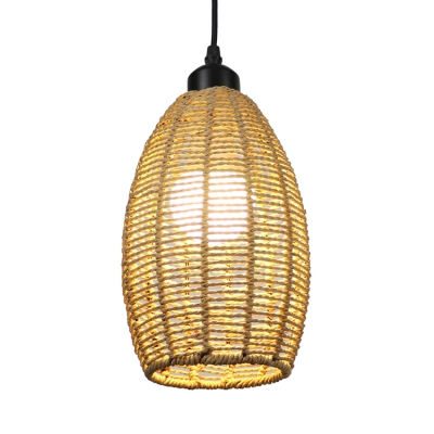 Oval Pendant Lighting in Country Style Restaurant Straw Rope 1/3 Light Hanging Light Fixture in Beige