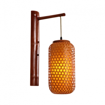 Cylinder Wall Lantern for Bar Restaurant Asian Hand Knitted  Wall Lamp in Brown, 23.5