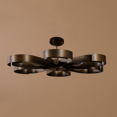 6 Light Petal Semi Flush Ceiling Light in Rust/Bronze Vintage Ceiling Light for Living Room