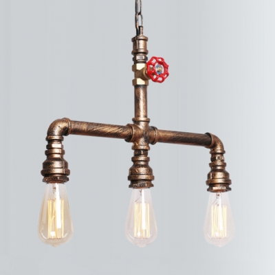 """Adjustable Brass Pipe Island Lighting with 39"""" Chain 3 Lights Antique Metal Hanging Pendant for Kitchen, HL511174"""