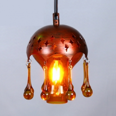 Antique Domed Shape Pendant Lamp Metal 1 Light Hanging Lamp with Crystal for Living Room