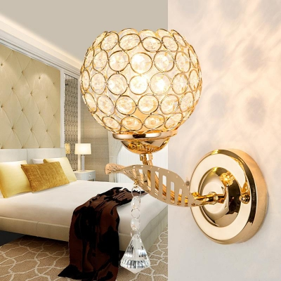 Bedroom Ball Wall Lighting Clear Crystal Modern Style Sconce Light, 10