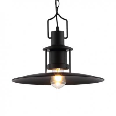 Black Saucer LED Suspended Light Fixture Antique Metal Pendant Light with 16