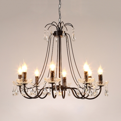 Candle Living Room Chandelier Metal 5/6/8 Lights Rustic Light Fixture with 19.5