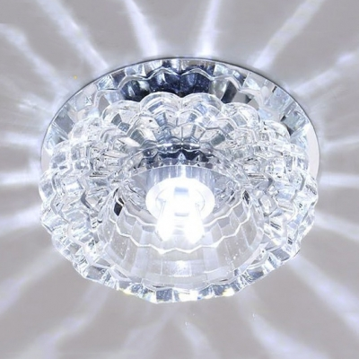 Chrome Round Flush Mount Light Modern Clear Crystal Light Fixtures for Dining Room