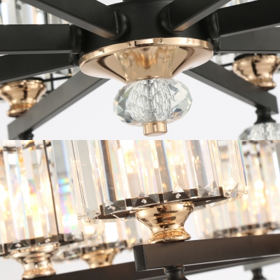 Clear Crystal Cylinder Pendant Lamp 3/6/8 Lights Contemporary Chandelier Light for Dining Room