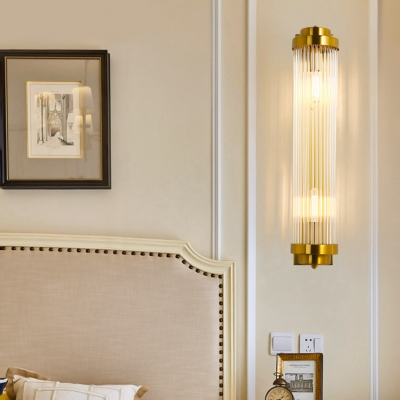 Contemporary Gold Sconce Light with Cylindrical Clear Crystal 2 Lights Metal Wall Light