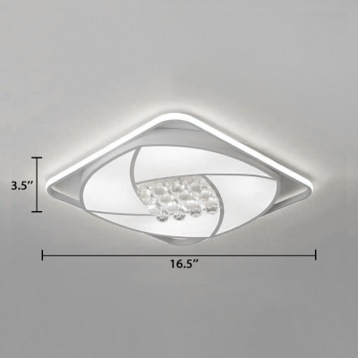 Contemporary Square Flush Mount Light Acrylic White Ceiling Fixture for Living Room