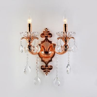 Copper Candle Wall Mount Lighting 2 Lights Vintage Style Metal Sconce Light with Clear Crystal for Bedroom