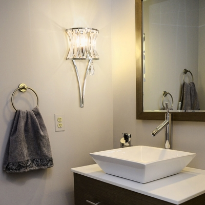 Curved Wall Sconce with Clear Crystal Bedroom Single Light Modern Wall Light Fixture in Chrome