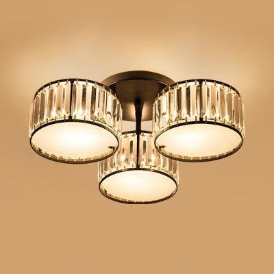 Drum Ceiling Pendant Dining Room 3/5/6/7 Lights Modern Semi-flush Mount with Clear Crystal in Black