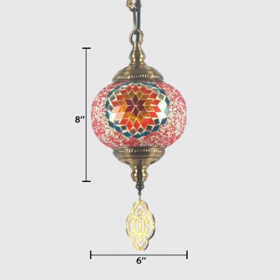 Globe Hallway Pendant Lighting Stained Glass Single Light Moroccan Hanging Lighting