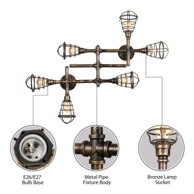 Industrial Cross Plumbing Semi Flush Mount Ceiling Light in Rust Finsh, 6 Lights 44.4'' Width
