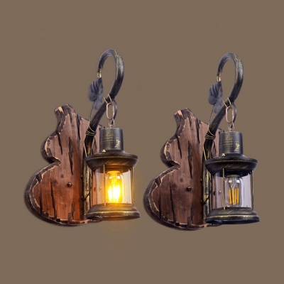 Lantern Dining Room Hanging Wall Sconce Single Light Vintage Sconce Light in Antique Brass