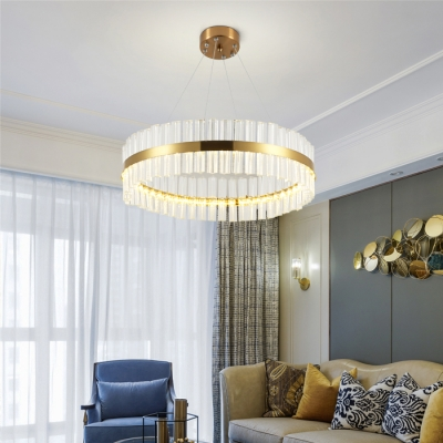 Living Room Round Light Fixture Clear Crystal Contemporary Length Adjustable Gold Chandelier with 39