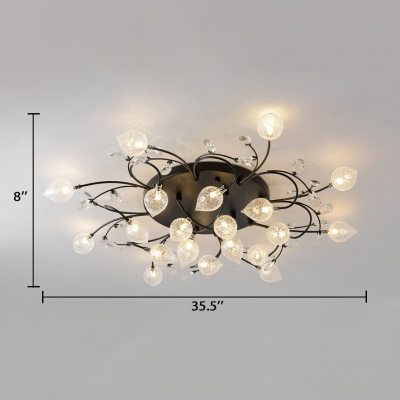 Metal Sputnik Semi-flush Mount 8/12/16/20 Lights Contemporary Ceiling Pendant in Black/Gold