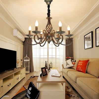Metal Twist Arm Chandelier Light 6 Lights Antique Hanging Pendant in Bronze for Living Room