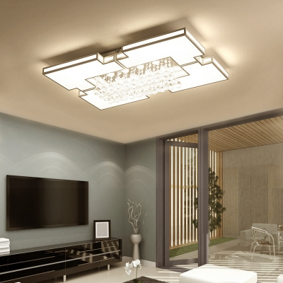 Modern Rectangle Flush Mount Lighting with Clear Crystal Acrylic Ceiling Pendant in White