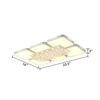 Modern White Ceiling Flush Mount Light with Rectangle and Clear Crystal Acrylic Ceiling Pendant
