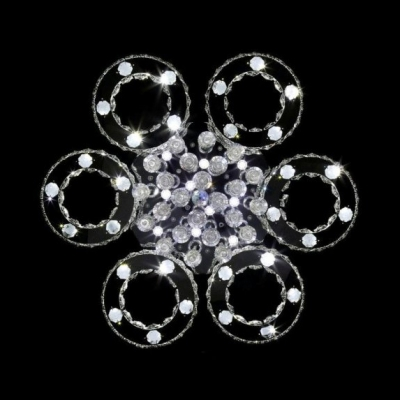 Round Shade Living Room Semi Flush Mount Lighting Clear Crystal Multi Lights Contemporary Ceiling Light, White/Warm