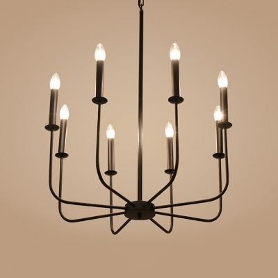 Rustic Open Bulb Chandelier Light 8 Lights Length Adjustable Metal Pendant Lamp with 39