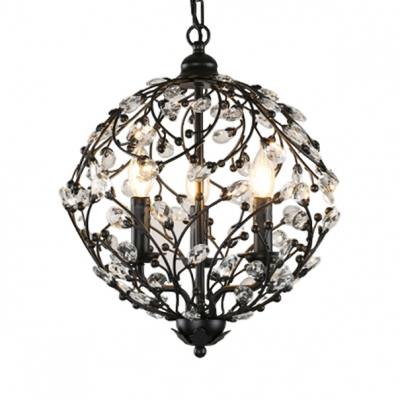 Rustic Orb Chandelier with Adjustable Hanging Cord 3 Lights Clear Crystal Pendant Lighting in Black