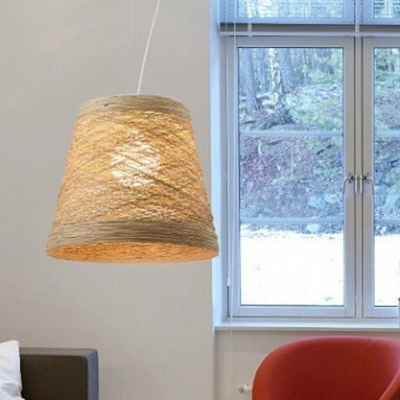 Tapered Hanging Light Living Room 1 Light Modern Woven Pendant Light with 47