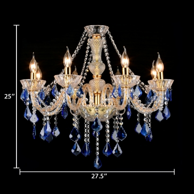 Antique Candle Chandelier 8 Lights Clear Crystal Hanging Lights with Adjustable Cord in Blue