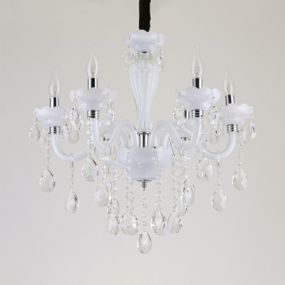White Candle Chandelier 6 Lights Antique Clear Crystal Hanging Pendant with 19.5