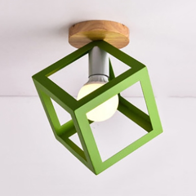 Nordic Style Cage Frame Pendant Light with Wood Base in Black/Green/Yellow Finish, 6