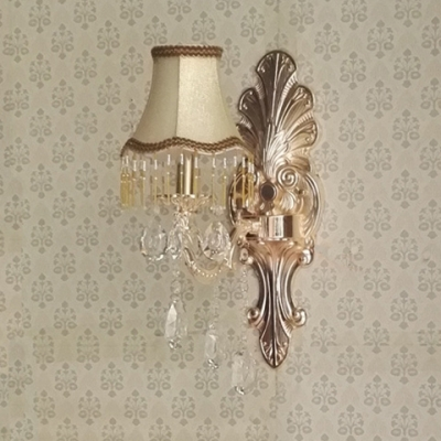 Brass Wall Mounted Light Fixture Antique Style Sconce Lighting with Clear Crystal for Bedroom