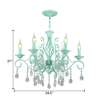 Candle Bedroom Hanging Chandelier with Clear Crystal Decoration 6/8 Lights Height Adjustable Classic Pendant Lighting in Pink/Green