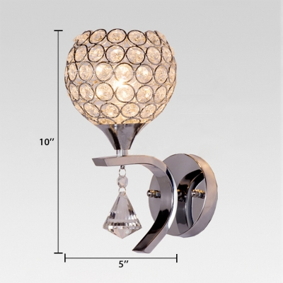 Clear Crystal Orbit Sconce Lighting One Light Modern Style Wall Light Fixture, 10