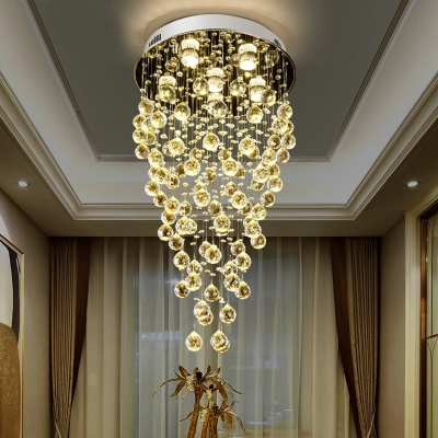 Clear Crystal Round Flush Canopy Ceiling Light 5 Lights Modern Chandelier in Chrome