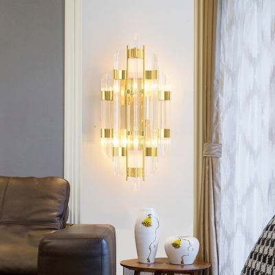 Clear Crystal Wall Light Fixture Foyer 2 Lights Contemporary Metal Wall Sconce in Gold