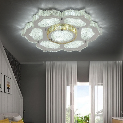 Contemporary Flower Flush Light Metal White LED Ceiling Fixture with Clear Crystal for Living Room