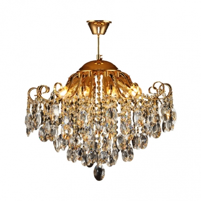 Crystal Pendant Light 5/6/8 Lights Contemporary Hanging Light Fixture in Gold for Bedroom