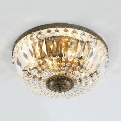 Dome Shape Bedroom Flush Mount Clear Crystal 3-Light Vintage Style Ceiling Lighting, 6.5