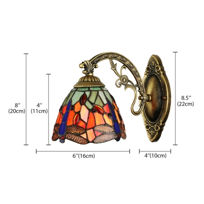 Dragonfly Pattern 6 Inches Width One Light Tiffany Wall Sconce