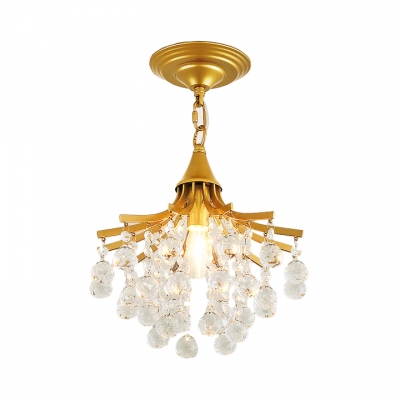 Foyer Chandelier Clear Crystal 1 Light Modern Height Adjustable Light Fixtures in Black/Gold