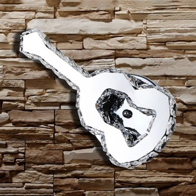 Guitar Shape Bedroom Wall Sconce Metal Modern Sconce Light with Clear Crystal in Chrome