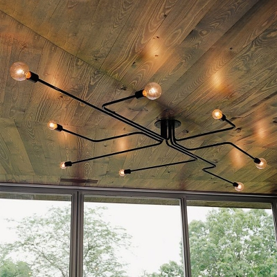 Industrial Edison Bulb Wrought Iron 8 Light Large LED Semi Flush Ceiling Light in Black