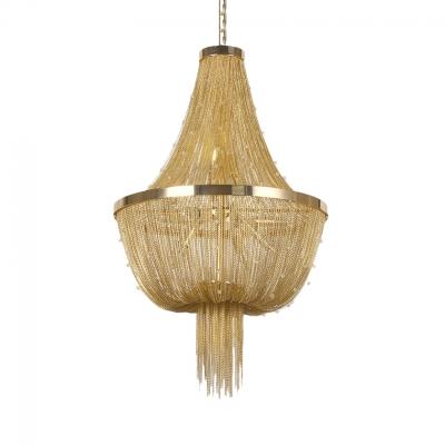 Metal Hanging Hanging Chandelier 8 Lights Contemporary Pendant Lighting in Gold