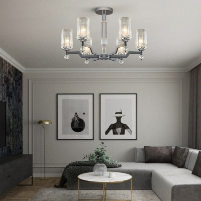 Modern Cylinder Chandelier 3/6/8 Lights Clear Crystal Ceiling Pendant in Chrome for Dining Room