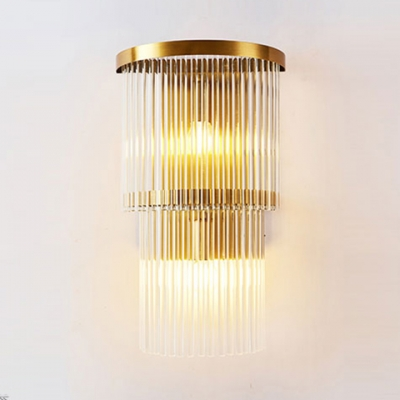 Modern Drum Wall Light Metal 2/3 Lights Gold Sconce Light with Clear Crystal for Bathroom