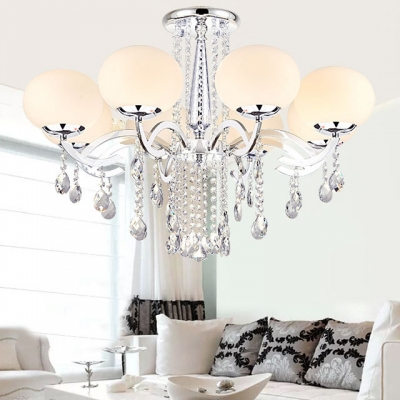 Modern Globe Chandelier 3/6/8/9 Lights Metal Hanging Lamp with Clear Crystal Decoration in Chrome