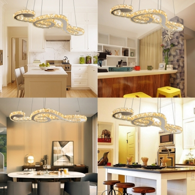 Modern Musical Note Hanging Pendant Light Silver Chandelier with Clear Crystal Decoration